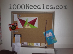 And the cork board was moved to a different space.  My lucky star BOM is still unfinished there.