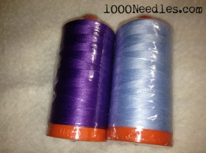 Aurifil Thread Club The Quilt Bear #1243 - Purple #2710 - Pale Blue