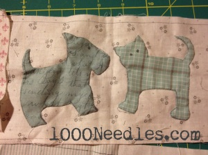 Raining Cats and Dogs Block 2 - close up of the kitty and doggy as of 12/9/13