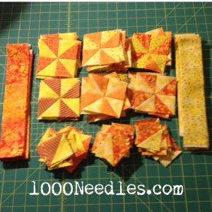 Celtic Solstice - Step 3 35 Pinwheels 100 HSTs Orange and Yellow Strips ready to make more 12/15/13