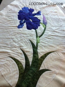 Iris - the Iris has been quilted down but the background is only marked.  I need to quilt the background.
