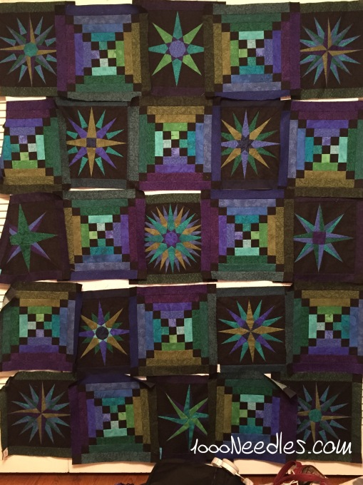 Moon Glow All blocks completed Up on the design wall 4/16/15