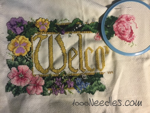 "Cross Stitch ""Welcome"" project 11/25/2015"