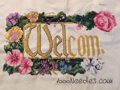 "Cross Stitch ""Welcome"" Project 1/3/2016"