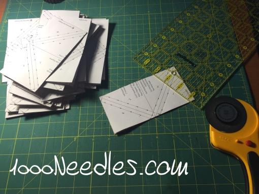 Then I cut them into half squares.