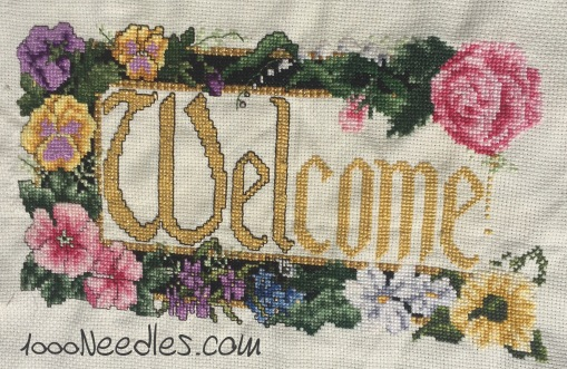 """Welcome"" Cross Stitch Project 2/27/16"