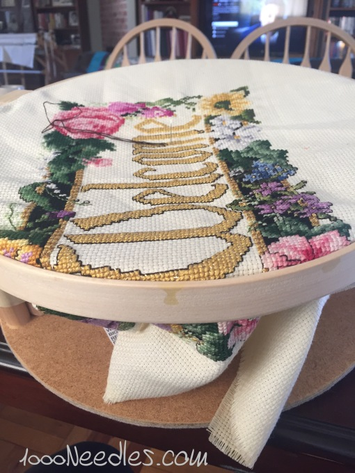 cross stitching with my hand quilting hoop