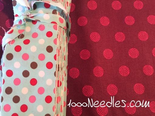 the polka dot fabric is cut and ready for my guild meeting on Monday. The pink/fuschia fabric is the one I HAD to take home! :)