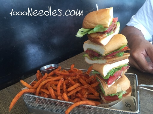 BLTA Stack with Sweet Potato Fries Cafe 6 8/5/2016